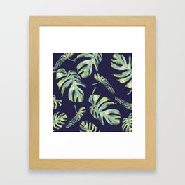 Monstera Pattern Blue #society6 Framed Art Print