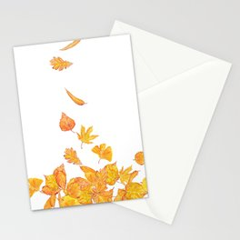 falling yellow leaves watercolor Stationery Cards