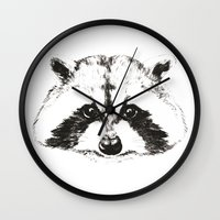 racoon Wall Clocks featuring racoon by eclecticliving