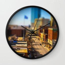 Bricktown Street by Monique Ortman Wall Clock