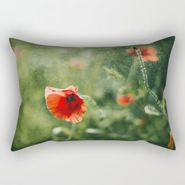 Red Poppy on Green background with bokeh Rectangular Pillow