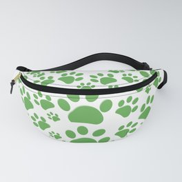 Green dog paw print made of heart Fanny Pack