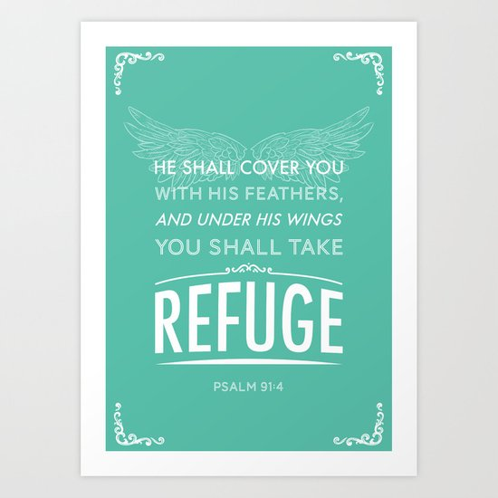 Typography Motivational Christian Bible Verses Poster - Psalm 91:4 by thewoodentree