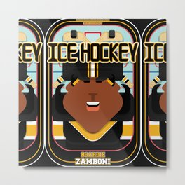 Ice Hockey Black and Yellow - Boardie Zamboni - Aretha version Metal Print