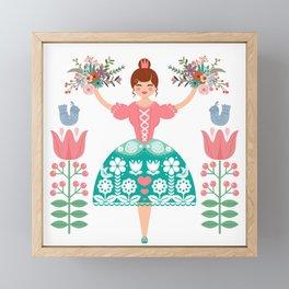 Scandinavian Flower Princess Framed Mini Art Print