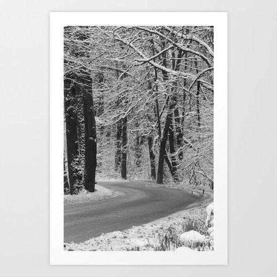 Snow-White Road Art Print