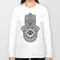 buddah Long Sleeve T-shirts featuring Hamsa Hand  by AmandaSmentkowskiArt