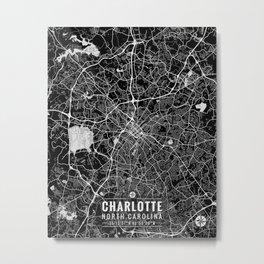 Charlotte North Carolina City Map Art Metal Print