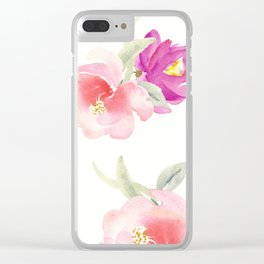 WATERCOLOR FLORAL PILLOW, ROSE PILLOW, ROSE WATERCOLOR Clear iPhone Case