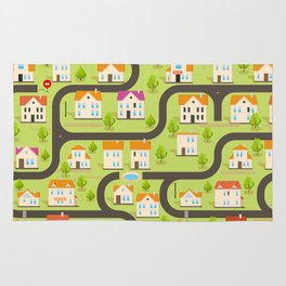 Vector Funny Maze Game. Map of Cartoon Small Town Rug