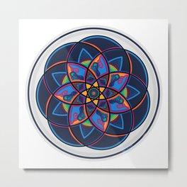 Spice of Life Round, Red, Blue, Orange, Yellow Green Star Mandala Metal Print