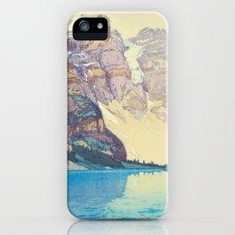 Moraine Lake (Moren) Hiroshi Yoshida Japanese Woodblock Print iPhone Case