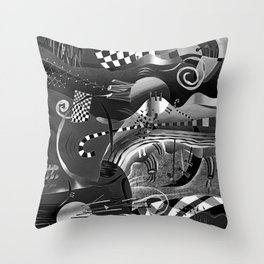 Black and white abstraction explosion of chess Throw Pillow