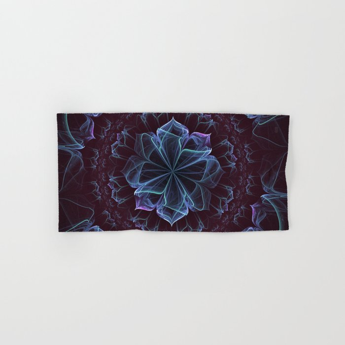 Ornate Blossom in Cool Blues Hand & Bath Towel