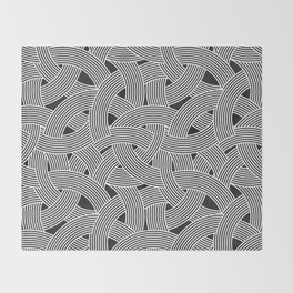 Modern Scandinavian B&W Black and White Curve Graphic Memphis Milan Inspired Throw Blanket