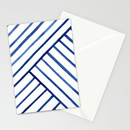 Watercolor lines pattern | Navy blue Stationery Cards