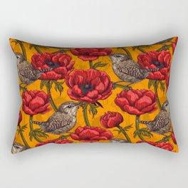 Wrens in a red anemone garden     Rectangular Pillow