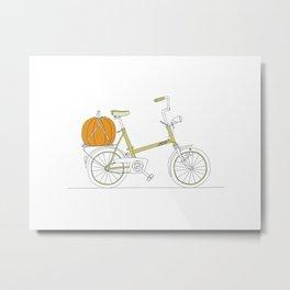 Bicycle with Pumpkin Metal Print