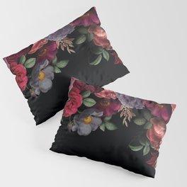 Vintage & Shabby Chic - Night Antique Redoute Roses Frame On Black Pillow Sham