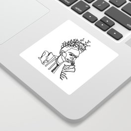 Frida Kahlo Single Line Portrait Sticker