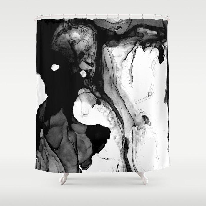 Soft Black Marble Shower Curtain