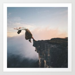 Up in the Clouds-Surreal Levitation Off a Cliff Art Print