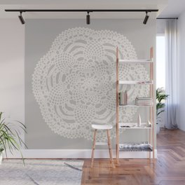 Cream on Taupe Antique Crocheted Lace Pineapples Doily Wall Mural