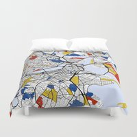 boston map Duvet Covers featuring Boston Mondrian map by Mondrian Maps