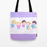 shinee Tote Bags featuring SHINee Sleepover by sophillustration