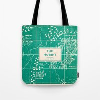 the hobbit Tote Bags featuring The Hobbit by Buzz Studios