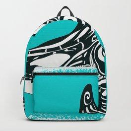 Orca Killer Whale Teal Tribal Tattoo Backpack