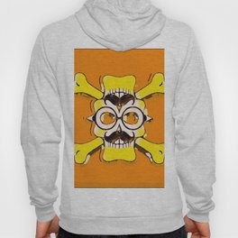 yellow old vintage skull and bone graffiti drawing with orange background Hoody