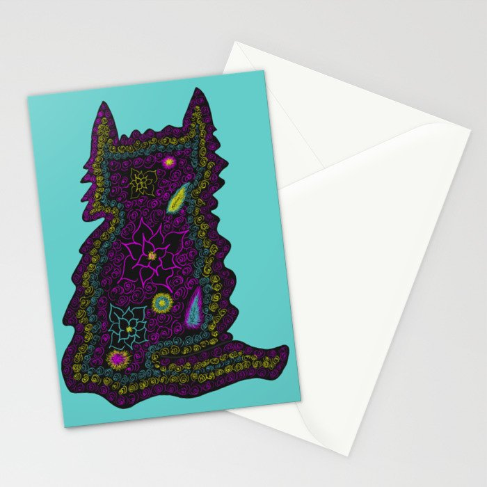 Black Cat With Roses Stationery Cards