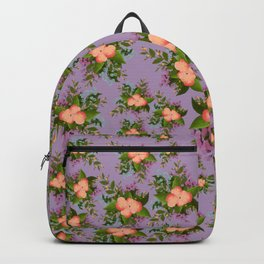 Watercolor Flowers on Purple Background Backpack