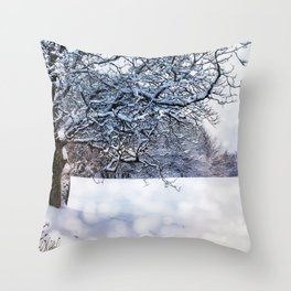 bokeh snow Throw Pillow