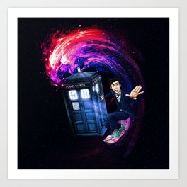 Doctor Who Space Surfing Art Print