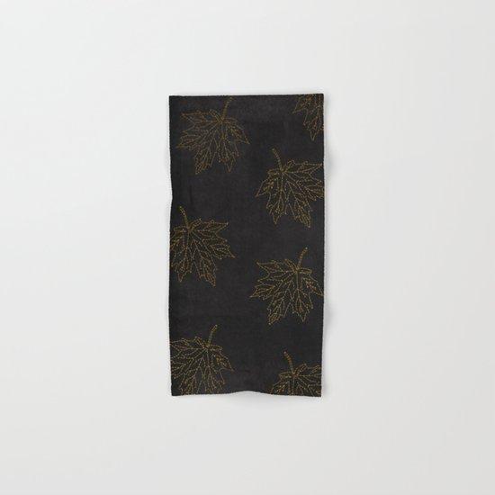 Autumn-world 3 - gold leaves on black chalkboard Hand & Bath Towel