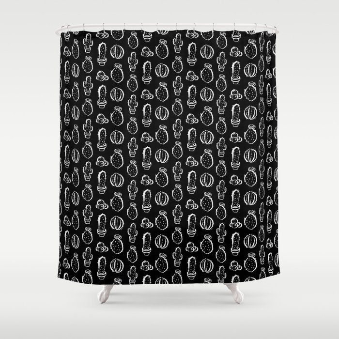 Cactus everywhere black version Shower Curtain