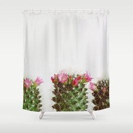 Three Flowering Cacti Shower Curtain