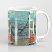 volkswagon Mugs featuring VW Bug on Mackinac Bridge by Barb Laskey Studio