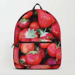 Fresh strawberries background Backpack