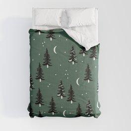 Christmas universe pine tree forest night Stars Moon Green Comforters