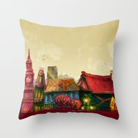 cities Throw Pillows featuring Cities by Elisa Gandolfo