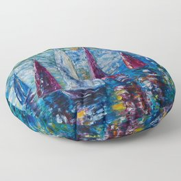 Sails To-night oil painting with Palette Knife Floor Pillow