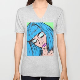 Blue Bangs Crying Comic Girl Unisex V-Neck
