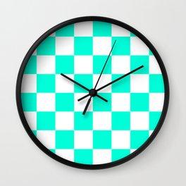 Cheerful Aqua Checkerboard Pattern Wall Clock