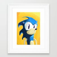 sonic Framed Art Prints featuring Sonic by tonguestubble