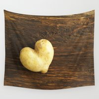 potato Wall Tapestries featuring Heart shaped potato by Elisabeth Coelfen