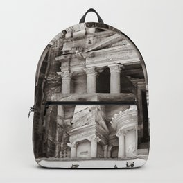 Camels at Petra | Black and White Stunning Stone Monument Hidden Lost City Treasury Carved Cliff Backpack