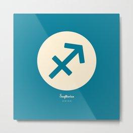 Sagittarius Symbol Blue Metal Print